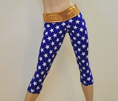 Hot Yoga Fitness Capri Pants Wonder Woman Stars by SXYfitness, $42.00