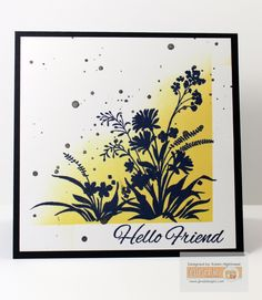 """Gina K. Designs Products: *Card Stock - Black Onyx, White Layering Weight *Inks: Sweet Corn, Lemon Drop, & Black Onyx. Ink Refill - black Onyx Stamp Set """"Wild Blossoms"""" by: Gina K. Available @ http://www.shop.ginakdesigns.com #wildblossom, #ginakdesins Made for Gina K. Designs By: Karen Hightower"""
