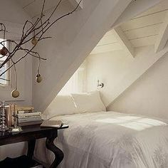 Erin Martin Design - bedrooms - alcove bed, bed under eaves, bed under sloped ceiling, attic bedroom, bed alcove,  Alcove bedroom with polsihed