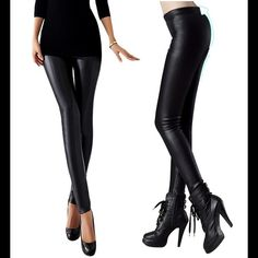Artificial leather leggings Asian L. Please see second picture for measurements. Firm Pants Leggings