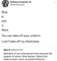 The fact that they are equating (perceived) injustice against the police with injustice against poc, means they KNOW damn well that the latter exists. They just don't want to recognize it unless it fits their narrative