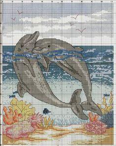 Бесплатно вышивка крестом дельфины схемы бесплатно