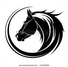 Horse circle tribal tattoo art. - stock vector