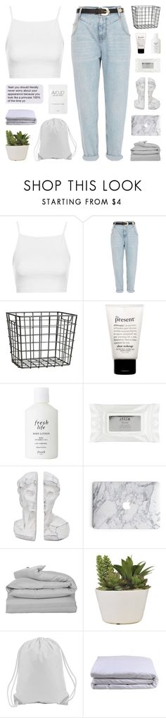 """""""new"""" by onibugis ❤ liked on Polyvore featuring Topshop, River Island, H&M, philosophy, Fresh, Stila, GANT and Frette"""