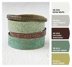Chip It! by Sherwin-Williams – love these greens, especially gallery green and sassy green together!  Would look good w/ an orange in there as well.