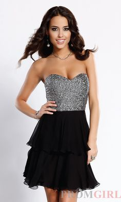 Scala Short Strapless Black and Silver Party Dresses- PromGirl