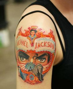 Tattoos inspired by Michael Jackson ღ in fans who love him! Wicked Tattoos, Cool Tattoos, Michael Jackson Tattoo, Michael Jackson Neverland, Michael Jackson Dangerous, Magic Tattoo, Shoulder Arm Tattoos, Jackson Family, Archangel Michael