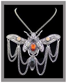 Victorian Khepri Scarab Beetle Steampunk Necklace