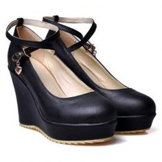 2013 Tea Party - Women's Wedge Shoes With British Style Solid Color Design in Black