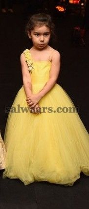 Pretty Kid in Lemon Yellow Frock - Indian Dresses