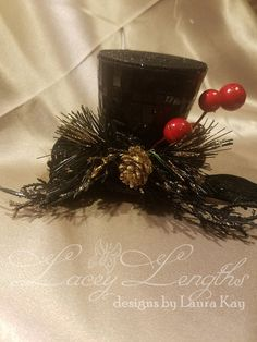 Black Christmas top hat headband by LaceyLengths on Etsy