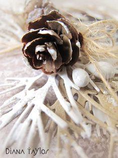 Pine cone Christmas card detail by Velvet Moth Studio