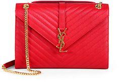 Saint Laurent Saint Laurent Monogramme Envelope Leather Bag