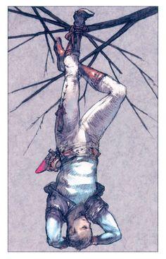 """The Hanged Man"" Tarot card by Akihiko Yoshida"