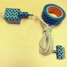 DIY my iPhone cord ... Super cute and happy. I think I'll washi tape every cord I see LOL !!