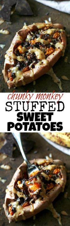 These Chunky Monkey Stuffed Sweet Potatoes are loaded with gooey caramelized bananas and melted dark chocolate before being topped with a creamy banana nut sauce. An irresistibly delicious gluten free and vegan treat! | runningwithspoons.com #recipe #heal