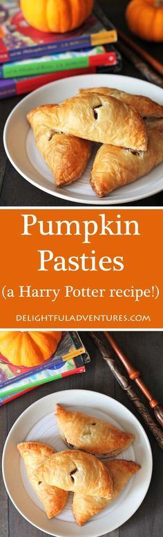 Pumpkin Pasties (a Harry Potter Recipe!) Curious about what pumpkin pasties from the Harry Potter series taste like? This is my take on the treat enjoyed by the characters in the books! Vegan Pumpkin, Pumpkin Recipes, Fall Recipes, Pumpkin Pumpkin, Vegan Desserts, Just Desserts, Delicious Desserts, Vegan Food, Vegan Sweets