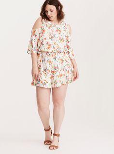 103483c346c55f Floral Print Cold Shoulder Ruffle Romper   Plus Size Fashion   TORRID Plus  Size Romper