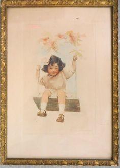 "Bessie Pease Gutmann, Illustrator, ""Girl On Swing"", circa 1910."