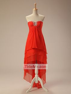 Burnt Orange Chiffon Popular High Quality Cheap Beaded Neckline High Low Prom Dress Evening Dress Bridesmaid Dress