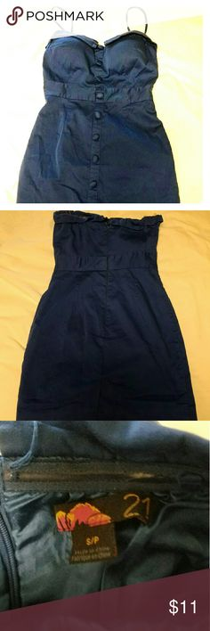 Blue Pin-up Mini Dress F21 Sexy, very blue, retro-mod aesthetic. Very form fitting with optional strapless or with strap. Good condition. One strap hook broken. Forever 21 Dresses Mini