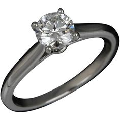 Pre-owned Cartier Ring ($3,550) ❤ liked on Polyvore featuring jewelry, rings, apparel & accessories, blue, pre owned rings, pre owned engagement rings, preowned engagement rings, band engagement rings and round solitaire ring