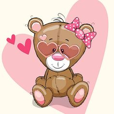 Cute bear girl in sunglasses on a heart background Teddy Bear Cartoon, Cute Teddy Bears, Tatty Teddy, Cartoon Images, Cute Cartoon, Cute Images, Cute Pictures, Kids Cartoon Characters, Disney Characters