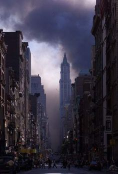 New York City looking down Broadway after the World Trade Center attacks on September 11, 2001. (Dave Hogan/Mission Pictures/Getty Images)