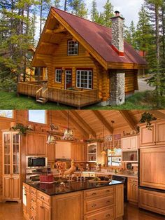 Same Cabin with a view of the kitchen. - Same Cabin with a view of the kitchen. Log Cabin Living, Small Log Cabin, Tiny House Cabin, Log Cabin Homes, Tiny House Plans, Log Cabins, Prefab Cabins, Log Home Designs, Cabin Kitchens