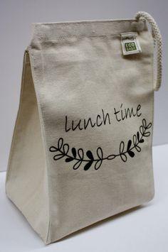 Мешочек для ланча. Можно предлагать фирмам, кот. занимаются завтраками/ланчами на вынос   Lunch Time - Embellished Cotton Canvas Lunch Bag