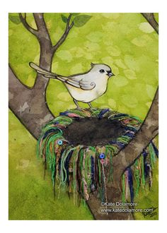 Bird Nest no. 18 Tufted Titmouse Bird Watercolor and Found Object Print.  Kate Dolamore Art via Etsy
