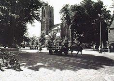 Algemeen overzicht van de Markt, gezien vanaf de Molenstraat, met de St. Petruskerk op de achtergrond. (1965)