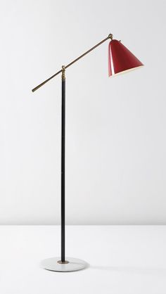 Gino Sarfatte; #1003B Enameled Metal, Brass and Marble Floor Lamp for Arteluce, c1946.
