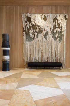 A geometric marble flooring