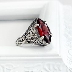 Antique Garnet Ring: Sterling Silver and Natural Garnet - size red marquise gemstone, vintage setting, intricate detail Antique Rings, Vintage Rings, Antique Jewelry, Vintage Jewelry, Stone Jewelry, Boho Jewelry, Jewelry Accessories, Jewellery, Garnet Jewelry