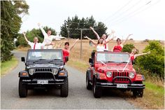 Wedding party in their Jeep #Wrangler 4x4s.