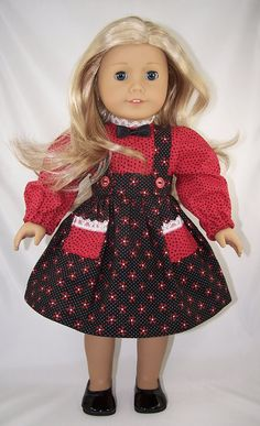 Black Red Print American Girl Doll Skirt & Blouse by SewDollyCute, $16.50