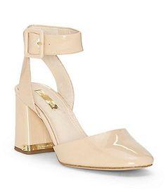 Ines Suede 2-Piece Ankle Strap Block Heel Pumps BcmxTaQqfo
