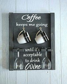 Smile there's wine. But first coffee. Coffee Mug and Wine glass holder, Coffee mug rack, coffee wine sign, how to tell time Coffee Wine, Coffee Mugs, Coffee Shop, Coffee Maker, Coffee Creamer, Coffee Latte, Hot Coffee, Iced Coffee, Coffee Beans