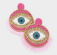 Funky Earrings, Tassel Earrings, Statement Earrings, Crochet Earrings, Beaded Embroidery, Embroidery Designs, Heart Shaped Earrings, Simple Necklace, Instagram Shop