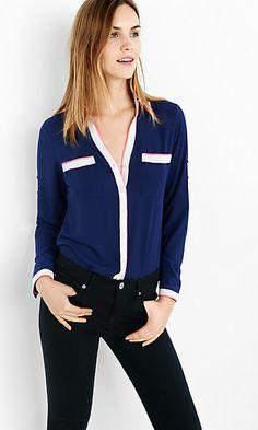 original fit navy double piped portofino shirt