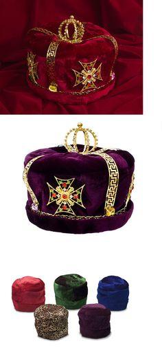 Rhinestone Onion Dome Gemstone Red Velvet Men/'s Gold Crown Regal King Royal Head