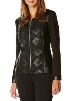Rafaella Black Petite Size Lace Overlay Leather Jacket