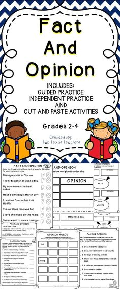 Fact or Opinion - This fact and opinion activity book is a great supplemental resource! This activity book includes charts, worksheets, and other fun filled activities to use when teaching students to distinguish between fact and opinion.  #education