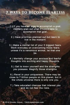 7 Ways to Become Fearless. - - 7 Ways to Become Fearless. Life Advice, Good Advice, Life Tips, Life Hacks, Trauma, Love Your Enemies, Self Improvement Tips, Biggest Fears, Psychology Facts