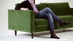 Scott 3-Sitzer Sofa, Samt in Petrolgrün   MADE.com Small Sleeper Sofa, Sectional Sofa With Recliner, Leather Sectional Sofas, Small Sofa, Tufted Sofa, Leather Sofa, Sofa Bed, Green Velvet Sofa, Sofa Inspiration