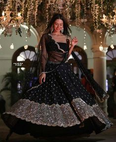 Black designer Lehenga choli Indian Pakistani wedding bridesmaids dress Ghagra choli chaniya choli m Ghagra Choli, Lehenga Choli Designs, Silk Dupatta, Lehenga Kurta, Punjabi Lehenga, Bollywood Lehenga, Lehenga Blouse, Sabyasachi, Indian Fashion Dresses