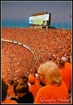 Tennessee Volunteers, Neyland Stadium, Knoxville GO VOLS! Tennessee Volunteers Football, Tennessee Football, Denver Broncos Football, Go Broncos, Broncos Fans, College Football, Football Stadiums, Alabama Football, Tennessee Girls
