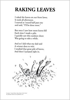 cute Fall Children's poem about raking leaves in Autumn. Great for classroom reading activities. common core  1st grade,  2nd grade,  3rd grade reading #ESL