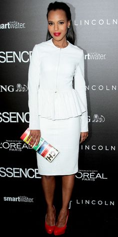 Washington arrived for the Essence Black Women in Hollywood fete in a Cushnie et Ochs peplum design, striped Kate Spade New York clutch and red Brian Atwood pumps.